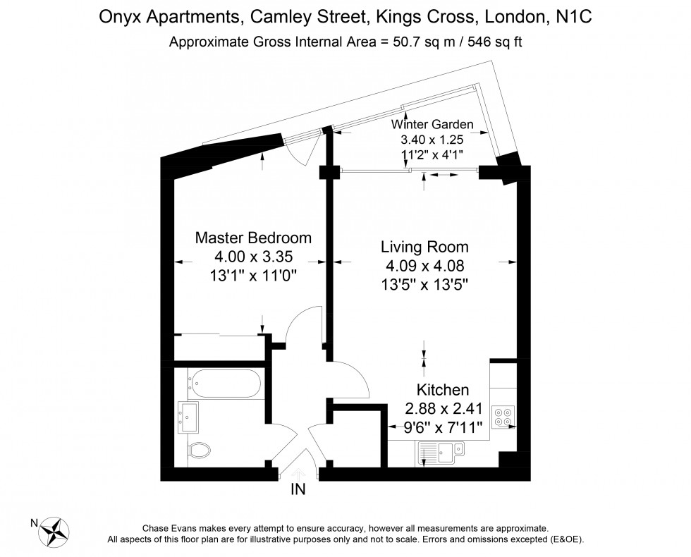 Floorplan for Onyx Apartments, 100 Camley Street, London